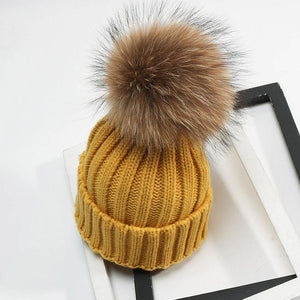 Ponchik Ribbed Knit Pom Pom Beanie - Mustard – Hunter Interiors 75f55815ab0
