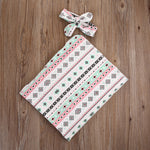 Mint & Pink Printed Receiving/Swaddling Blanket & Headband