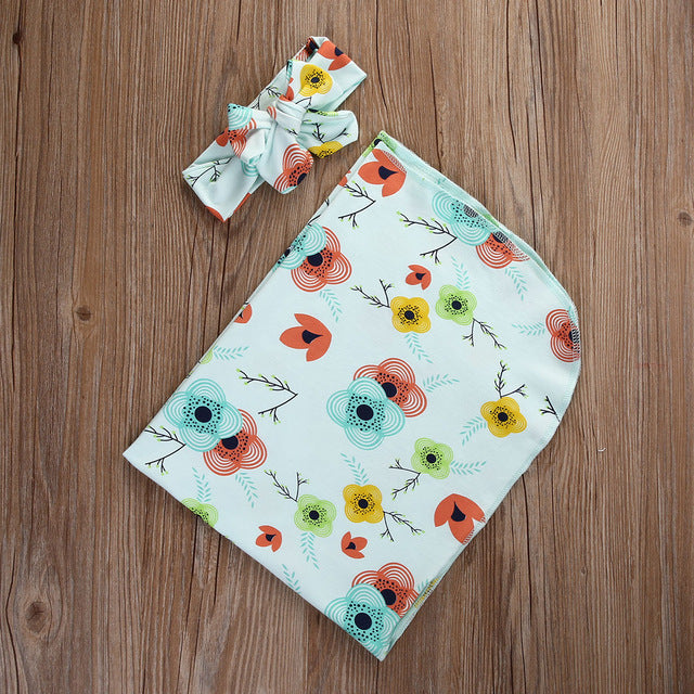 Floral Printed Receiving/Swaddling Blanket & Headband