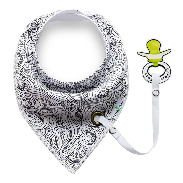Bandana Bib with Pacifier Clip - Multiple Prints