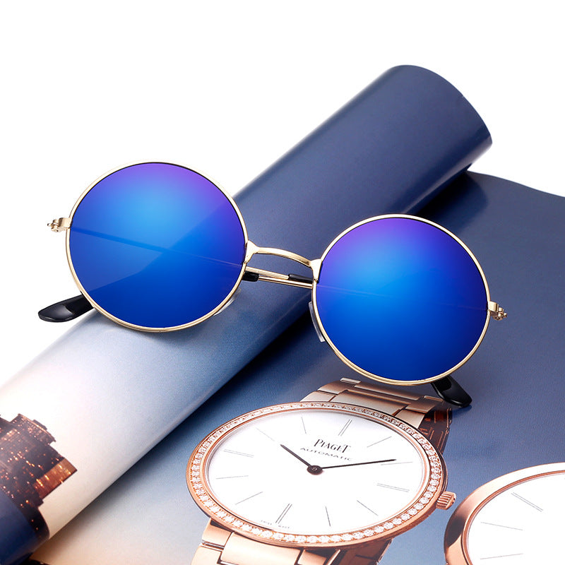 Round Mirrored Sunglasses - Multiple Colors