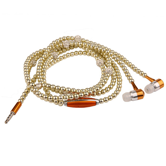 Pearl Necklace Earbuds With Microphone