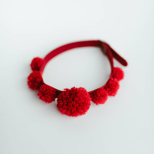 Red PomPom Choker Necklace/collar/ textured handmade pompoms/statement jewelry/valentines