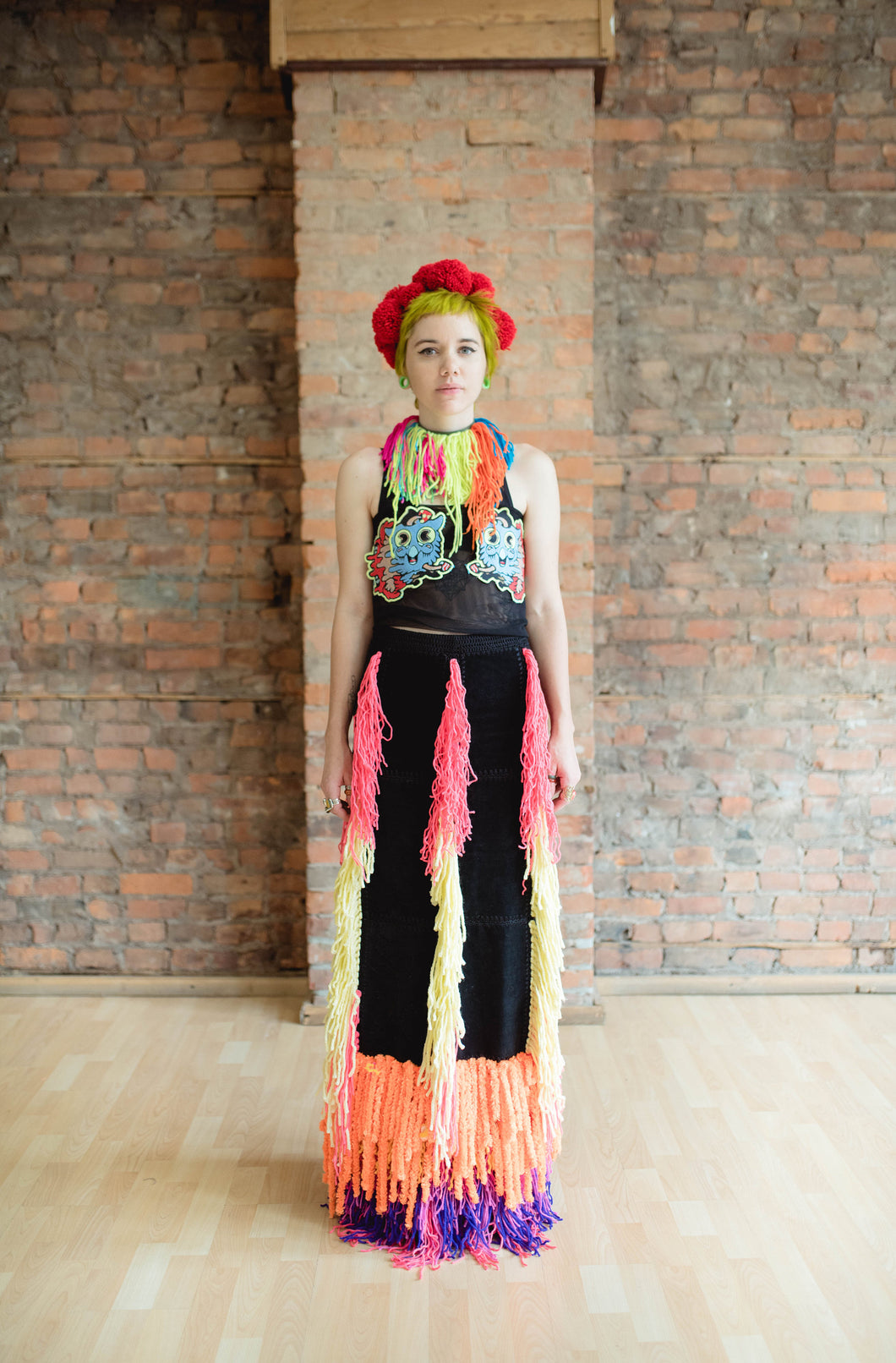 Hive Brain one of a kind look - black Leather yarn fringe skirt with embroidered mesh top
