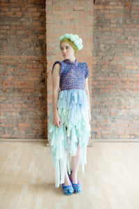 Hive Brain one of a kind look - pastel chiffon skirt elastic waist with crochet corset top
