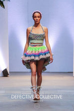 Hive Brain collection - one of a kind look - pastel knit and crochet artwear/crinoline halter top