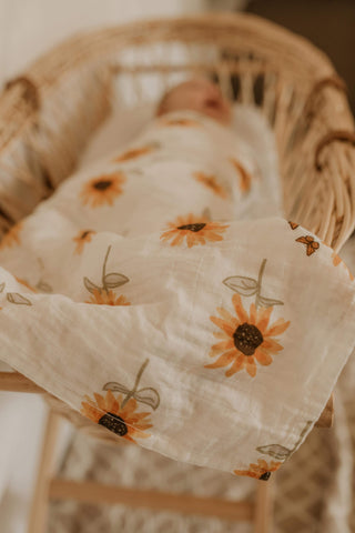 Sunflower Muslin Swaddle