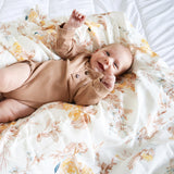 Brown Floral Swaddle