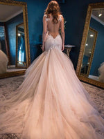 Mermaid Straps Backless Chapel Train Pink Wedding Dress with Lace