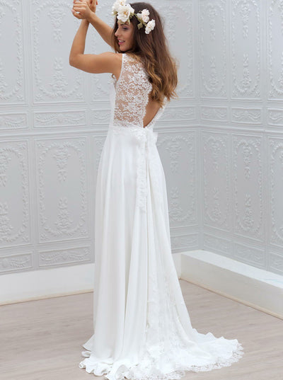 A-Line V-Neck Open Back Sweep Train Chiffon Wedding Dress with Lace
