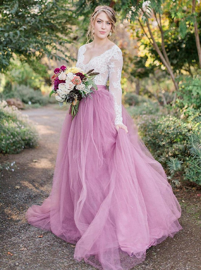 A-Line V-Neck Long Sleeves Pink Tulle Wedding Dress with Lace Appliques