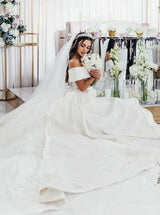 Elegant Off Shoulder Ball Gown Court Train White Satin Wedding Dress with Appliques