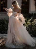 Elegant Off Shoulder Long Sleeves Pearl Pink Tulle Wedding Dress with Appliques