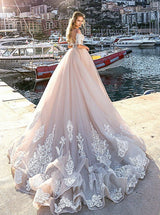 Dramatic Illusion Neck Half Sleeves Pink Ball Gown Court Train Wedding Dress with Appliques