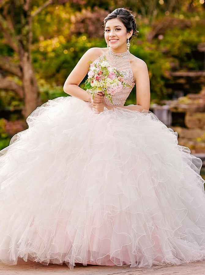 Ball Gown Jewel Open Back Pearl Pink Quinceanera Dress with Beading