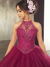 Ball Gown Jewel Fuchsia Tulle Quinceanera Dress with Beading Sequins