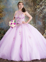 Ball Gown Jewel Pink Tulle Quinceanera Dress with Appliques