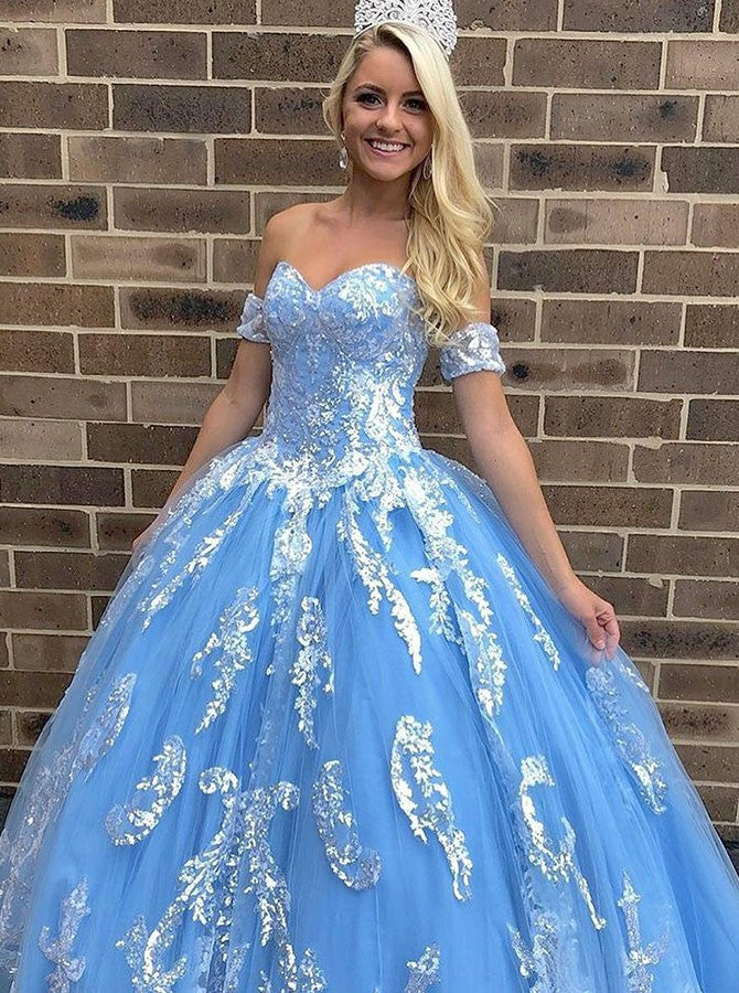 Ball Gown Sweetheart Floor Length Blue Tulle Quinceanera Dress with Appliques