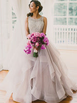 A-line Crew Court Train Organza Lace Grey Open Back Wedding Dress