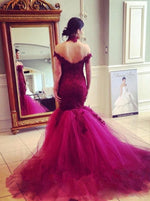 Mermaid Off-the-Shoulder Sweep Train Dark Red Wedding Dress with Lace