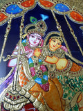 ORIGINAL HANDMADE TANJORE PAINTING OF RADHA KRISHNA ON SWING