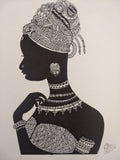 ORIGINAL HANDMADE ZENTANGLE TRIBAL WOMAN