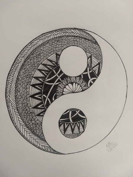 ORIGINAL HANDMADE ZENTANGLE YIN-YANG