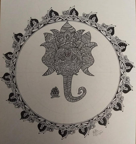 ORIGINAL HANDMADE LORD GANESHA ZENTANGLE