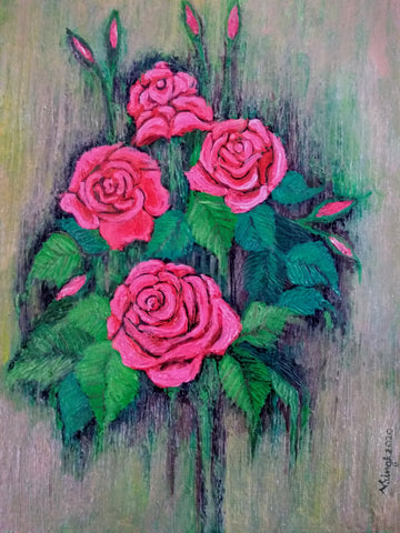 ORIGINAL HANDMADE BUNCH OF ROSES PAINTING