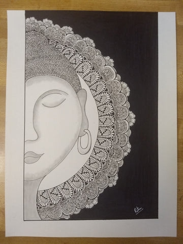 ORIGINAL HANDMADE ZENTANGLE BUDDHA