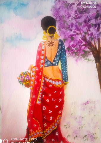 ORIGINAL PAINTING WOMEN IN RED SAREE PAINTING