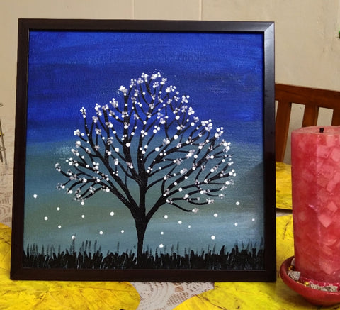 ORIGINAL HANDMADE WHITE NIGHT ACRYLIC PAINTING