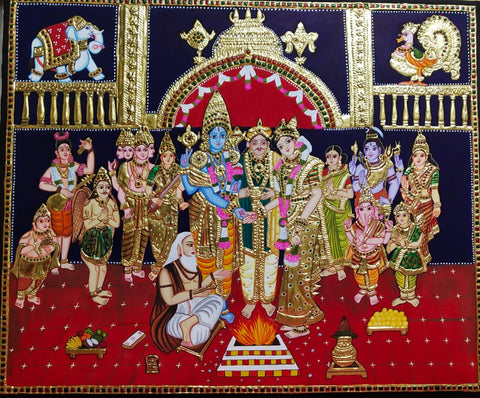ORIGINAL HANDMADE DIVINE MARRIAGE TANJORE PAINTING