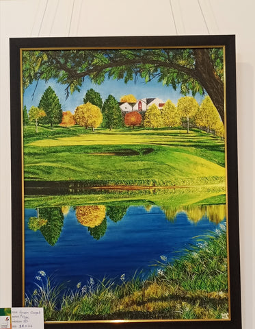 Original Handmade Green Carpet Oil Painting