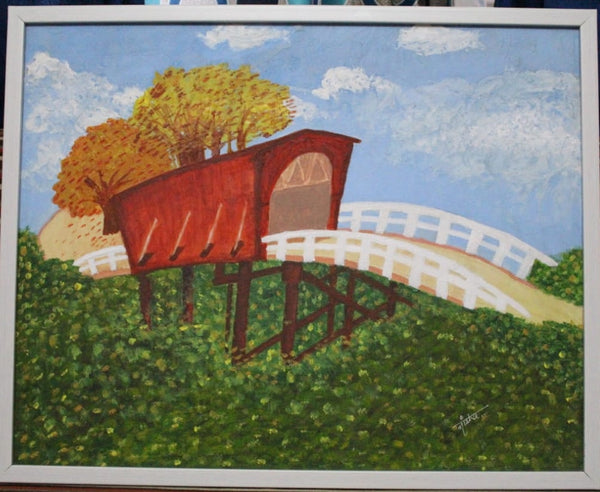 ORIGINAL HANDMADE BRIDGE OF MADISON COUNTY PAINTING