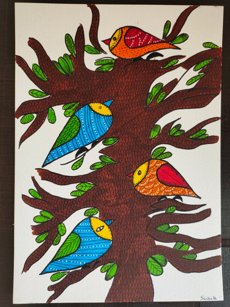 ORIGINAL HANDMADE BIRDS GOND ART PAINTING