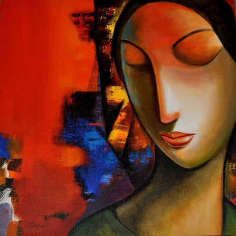 ORIGINAL HANDMADE WOMEN IN RED ACRYLIC PAINTING