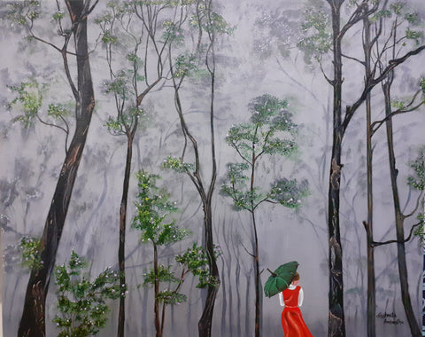 ORIGINAL HANDMADE WALK ON A RAINY DAY OIL PAINTING