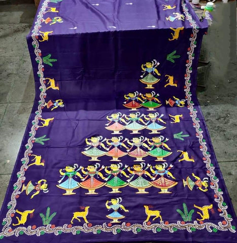 ORIGINAL HAND PAINTED JAMINI ROY HERITAGE SAREE