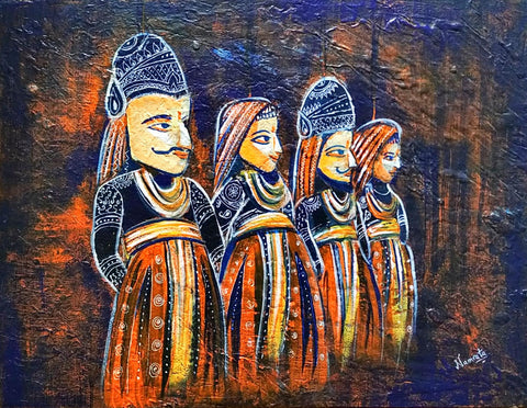 ORIGINAL HANDMADE RAJASTHANI KATHPUTLI MIXED MEDIA ARTWORK