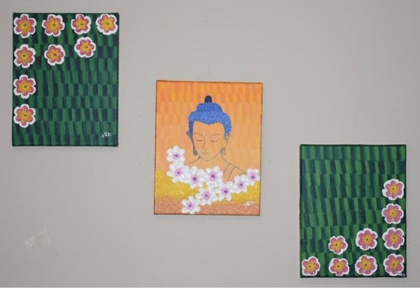 ORIGINAL HANDMADE ENLIGHTEN BUDDHA ACRYLIC PAINTING