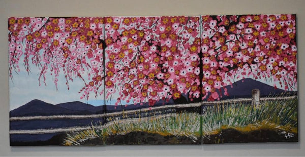 ORIGINAL HANDMADE CHERRY BLOSSOMS ACRYLIC PAINTING