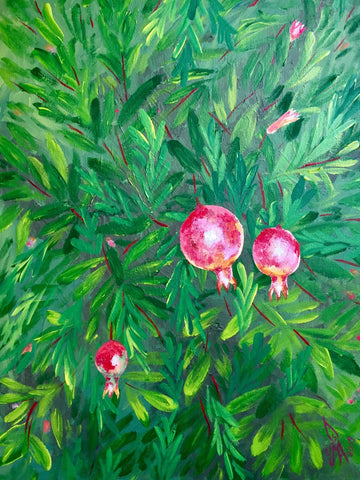 ORIGINAL HANDMADE ACRYLIC POMEGRANATE TREE PAINTING
