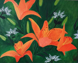 ORIGINAL HANDMADE LILY FLOWER CANVAS PAINTING