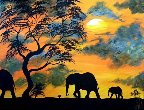ORIGINAL HANDMADE SUNSET ACRYLIC PAINTING