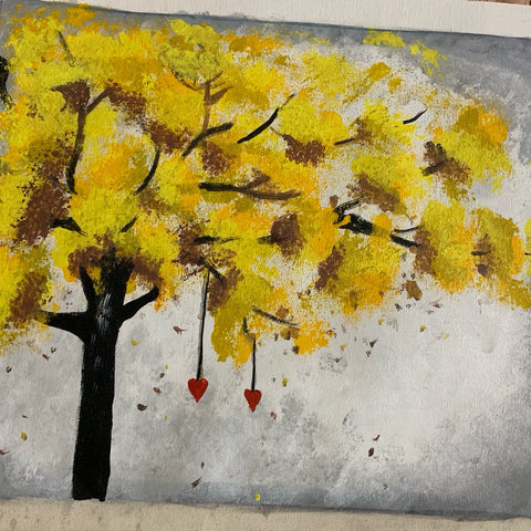 ORIGINAL HANDMADE AUTUMN ACRYLIC PAINTING
