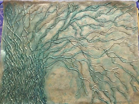Original Handmade Barren Tree Acrylic and Clay Painting