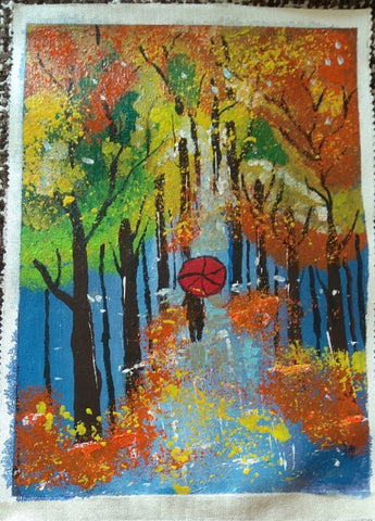 Original Handmade Rainy evening Acrylic Painting