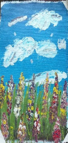 Original Handmade Blue sky and gardens Acrylic Painting
