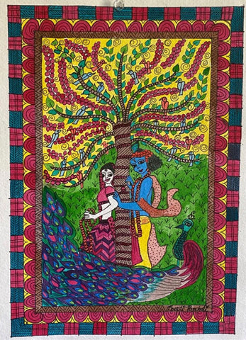 ORIGINAL HANDMADE ETERNAL LOVE MADHUBANI PAINTING